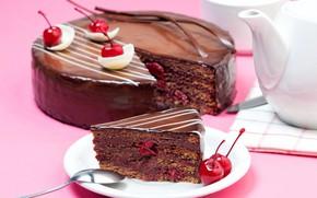 Картинка вишня, шоколад, чайник, торт