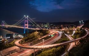 Картинка мост, China, дороги, Гонконг, Китай, ночной город, Hong Kong, Tsing Ma Bridge, Мост Цинма, Канал …