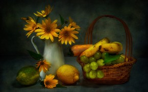 Картинка букет, виноград, бананы, натюрморт, лимоны