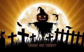 Картинка ночь, праздник, луна, тыква, Хеллоуин, пугало
