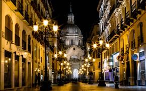 Картинка ночь, огни, улица, дома, фонари, собор, Испания, Сарагоса