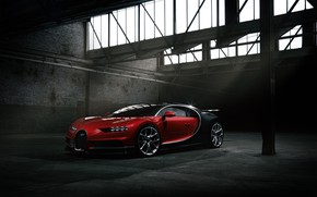 Обои Bugatti, Dark, Black, RED, VAG, Chiron