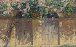Картинка картина, Анри-Жан Гильом Мартин, Henri Matrin, Пара Ворот под Шиповником в Цвету
