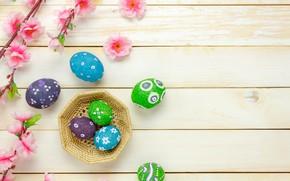 Картинка цветы, корзина, яйца, весна, colorful, Пасха, розовые, wood, pink, blossom, flowers, spring, Easter, eggs, decoration, …