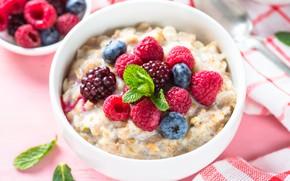 Картинка ягоды, малина, завтрак, молоко, черника, овсянка