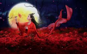 Обои цветы, девушка, стиль, луна