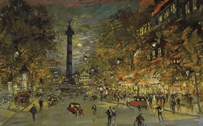 Картинка улица, дома, картина, импрессионизм, городской пейзаж, Константин Коровин, Площадь Бастилии. Париж