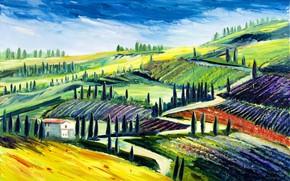 Картинка деревья, пейзаж, дом, холмы, поля, картина, Италия, Тоскана, Christian Seebauer