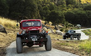 Обои Red, Road, Trucks, Dodge Power Wagon