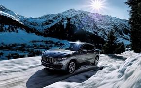 Картинка зима, солнце, снег, горы, Maserati, levante