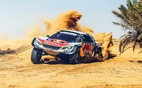 Обои Песок, Спорт, Скорость, Занос, Peugeot, Red Bull, Rally, Ралли, Sport, Передок, RedBull, DKR, 3008, Peugeot ...