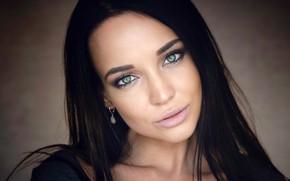 Картинка взгляд, крупный план, лицо, фон, модель, портрет, макияж, брюнетка, прическа, красивая, боке, Angelina Petrova, Ангелина …