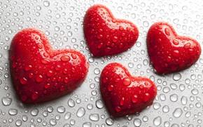 Обои red, сердце, любовь, romantic, вода, love, heart, капли