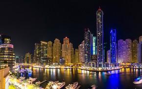 Картинка река, ночные огни, небоскреб, Ночь, Город, Дубай