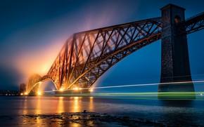 Картинка Scotland, Forth Bridge, light trail