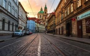 Картинка вечер, Прага, Чехия, мостовая, костёл