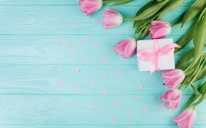 Обои любовь, цветы, подарок, сердечки, тюльпаны, love, розовые, fresh, heart, wood, pink, flowers, beautiful, romantic, tulips, ...