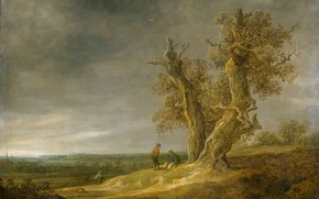 Картинка природа, масло, картина, Ян ван Гойен, Пейзаж с Двумя Дубами