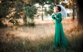 Обои девушка, стиль, ретро, зонтик, дерево, настроение, платье, дуб, Александра, Ольга Бойко