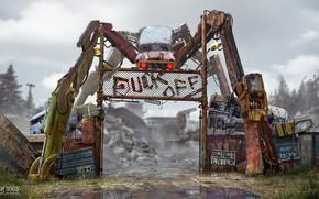 Картинка ворота, лужа, металлолом, въезд, Watch Dogs - T-bone Junkyard