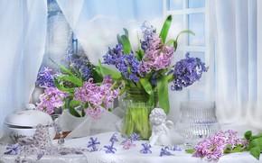 Картинка стиль, статуэтка, цветки, гиацинты