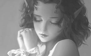 Картинка руки, девочка, рога, art, черно - белое, закрытые глаза, ёкай, Sha Zhang