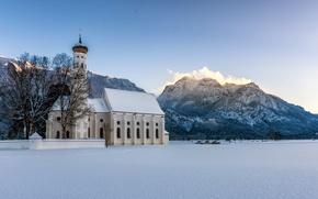 Картинка зима, снег, горы, Германия, Бавария, Альпы, церковь, Germany, Bavaria, Alps, Schwangau, Швангау, Sankt Coloman, Церковь …