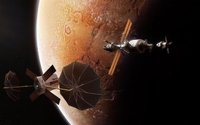 Картинка космос, планета, звёзды, аппарат, Sen Satellite 2