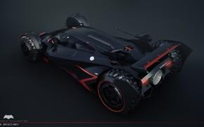 Картинка автомобиль, задок, сопло, batmobile concept
