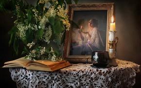 Картинка книга, черемуха, чашка, свеча, натюрморт, портрет