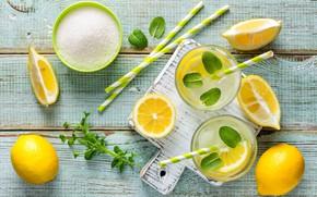 Обои мята, напиток, сахар, лимон, цитрус