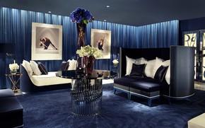 Картинка цветы, синий, стиль, стол, диван, мебель, подушки, картины, роскошь