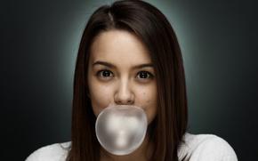 Обои пузырь, глаза, девушка, лицо, жевательная резинка