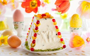 Картинка яйца, пасха, тюльпаны, кулич, цукаты, творожный
