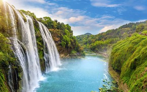 Обои пейзаж, река, скалы, водопад, summer, river, landscape, beautiful, waterfall, tropical