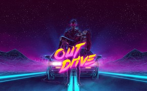 Обои Synthpop, Synth, Retrowave, DeLorean DMC-12, Electronic, Darkwave, Игра, Звезды, Машина, Synth pop, Synthwave, Неон, Out ...