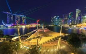 Обои город, огни, Сингапур, лазеры, Singapore