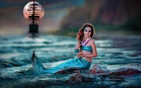 Картинка море, украшения, корабль, русалка, девочка, ракушки, русалочка, Ekaterina Dombrugova