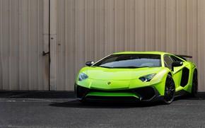 Картинка green, Lamborghini, Aventador, Super, veloce
