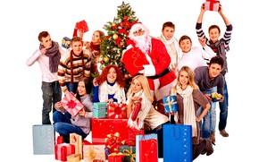 Картинка украшения, радость, люди, девушки, настроение, праздник, шапка, игрушки, очки, Рождество, подарки, белый фон, Новый год, …