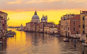 Картинка закат, city, город, Италия, Венеция, канал, Italy, panorama, Europe, view, Venice, cityscape, travel, canal