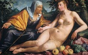Картинка масло, картина, мифология, Вертумн и Помона, Хендрик Гольциус