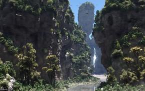 Картинка горы, река, пальмы, rock gorge