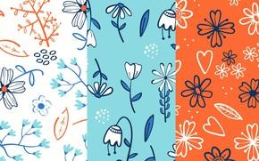 Картинка цветы, голубой, текстура, оранжевый фон, patterns, floral