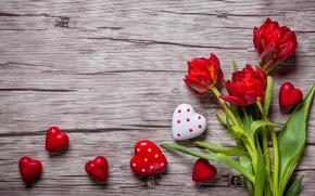 Картинка тюльпаны, red, love, romantic, hearts, tulips, sweet, valentine`s day