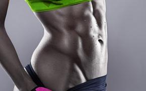 Обои perspiration, female, fitness, Sportswear, model, workout, abs