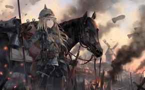 Картинка девушка, лошадь, аниме, арт