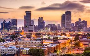 Картинка city, sunset, buildings