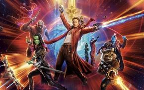 Обои Star Lord, Nebula, Zoe Saldana, Drax, Guardians Of The Galaxy Vol. 2, Groot, The Destroyer, ...