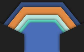 Обои оранжевый, голубой, геометрия, черный фон, material, color, белый, design
